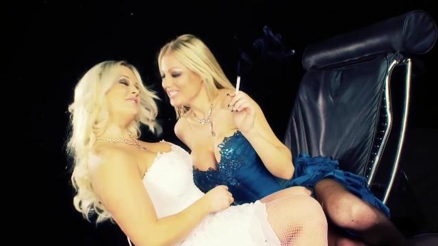 Fetish Big Tits Blonde Babe In Sexy Smoking Lesbian Scene 1