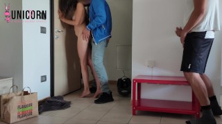NO MONEY SO I FUCKING DELIVERY BOY WHILE MY HUBBY WATCH US | CUCKOLD SHARE HIS WIFE |