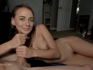 Sexy girlfriend giving encouraging handjob JOI