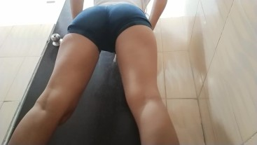 Sexy Butt Teen Peeing From Her Tight Shorts