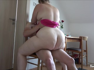 The horny girlfriend wanted to fuck in the kitchen
