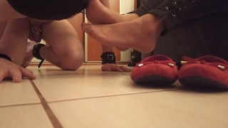 Chastity slave licking my flats and feet before I paint my toenails on him ;)
