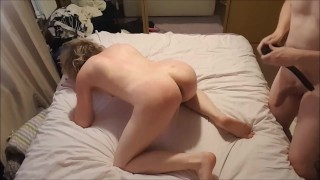 Lisa gets spanked with belt and flogger before getting off with Doxy