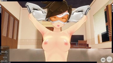 3D HENTAI trailer Overwatch Tracer Rides Dildo And Does AHEGAO