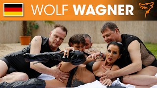The 2 MILFs Sidney and Rubina get boned outdoors by three guys! WOLF WAGNER