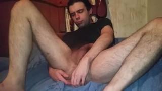 Masturbating self sucking playing with dildo gaping cum as lube