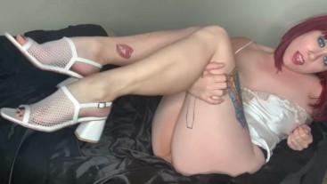 Muscular Calves Tease in White Heels Calf Muscle