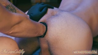 Close Up extreme stretch double punch fisting makes a hole large gape