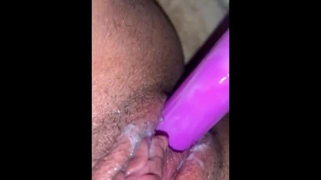 Creamy Latina moaning loud with dildo 16