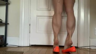 Muscular Calves in Orange Flats