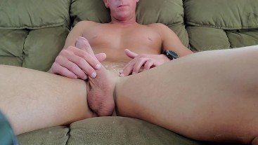 Home alone playing with my dick on the couch