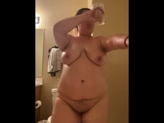 Oiling up after shower