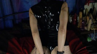 horny ebony latex mask german milf playng with big cock preview