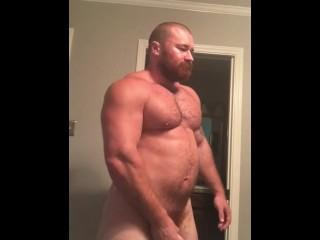 Sexy big dick musclebear flexing naked p1 bear...
