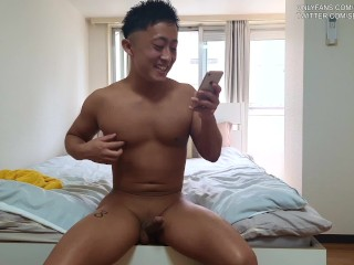 Straight popular japanese youtuber strips his clothes on...
