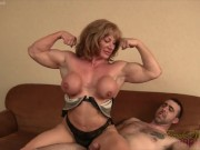 Mature blonde muscle maven gives a bicep job to a lucky wimp desi xxx video