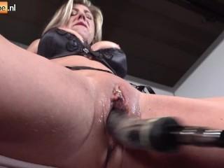 Mature blonde milf tits hard pov machine big...