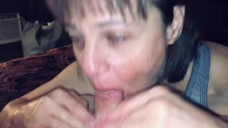 Mature Hot Wife sucking our friend while I record and comment