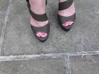 Femdom showing off new pedicure in sexy high Stilettos