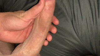 ON EDGE 8 INCH MONSTER COCK JERK OFF IN BED! INTENSE BREATHING AND MOANING (POV CLEAN SHAVED DICK)