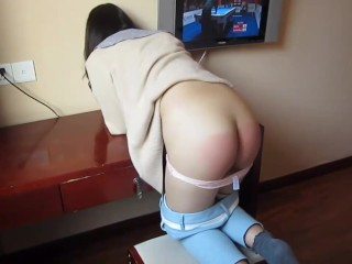 Chinese ass spanking hard with panties down...