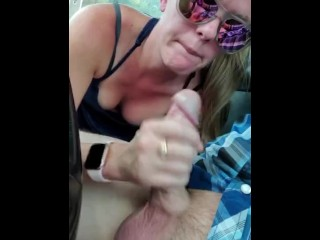 Sucking dick in truck, trying not to get caught