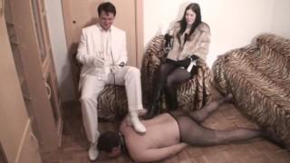 Cuckold loser must fuck the floor in pantyhose