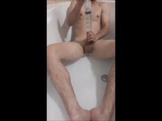 Boy in bath Enema Watter in Penis - Syringe and shower - trailer