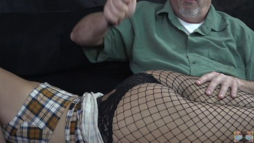 You can't go party during Covid! Millennial in fishnets gets spankings for being naughty