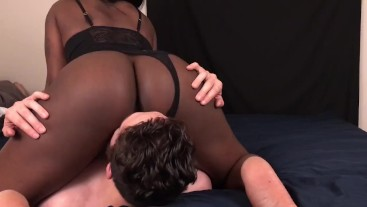White Guy Worships Black Teen Step Sister's Ass