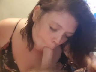 Titty cum shot licks up the mess...