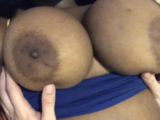 White guy plays with black girls tits while...