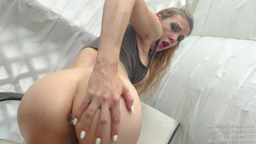 Action Heroine Having Fun Outside With Her Buttplug In