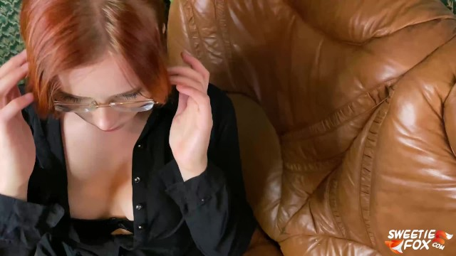 Horny Teacher Deepthroat Student Dick, Rough Fuck and Gets Cum on Glasses 15