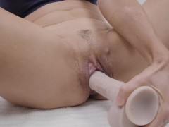 EB2: Horny MILF masturbates with cum lube and XL dildo - real orgasm and big squirt