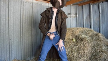 Hung Redneck Country Boy Cowboy Secretly Fucking in the Barn - Boots Trench Coat Hat