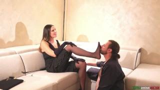 Italian Mistress Gets Smelled Sweaty Stockings By Enamored Slave FemDom Foot Domination Foot Fetish