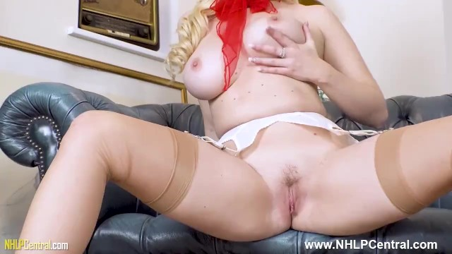 Busty babe Penny Lee sexy striptease ends with nylon legs wide pussy out for JOI session 5