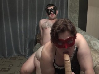 Naughty first threesome man and dildo...