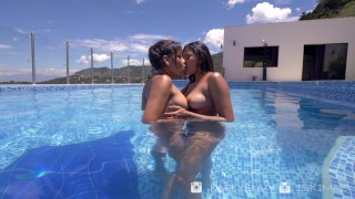 Karly+Isabelle Hot Lesbian Play By The Pool