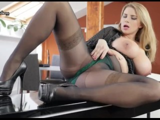 Secretary with Huge Pregnant Tits masturbates in her office