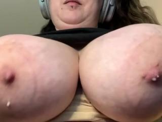 Heavy milky swinging titties...