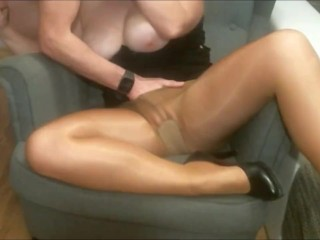 Sex on the armchair wife in pantyhose orgasm...
