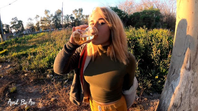 Pee drinking - credit - account Drinking pee in public, risky through the streets of the city, countryside and gardens 4k 60fr real