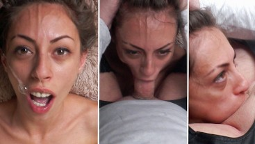 No mercy for her throat: Rough sloppy deepthroat and facefucking for this skinny amateur slut
