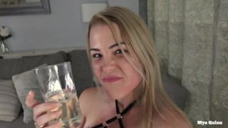 Blonde's face gets spit on, piss drinking cum eating - Mya Quinn