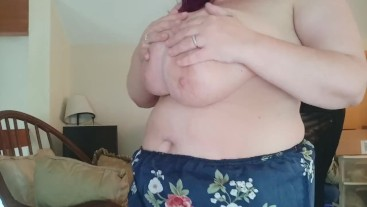 Going braless under my romper! Big nipples bbw