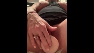 Sexy AF MILF fucks dildo HARD