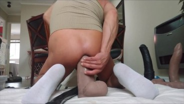 Double penetration with Mr. Hankey's Cyrus King LG/XL and a double headed large dildo