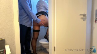 boss caught me on the office restroom - sex without condom finally ends with creampie impregnation_